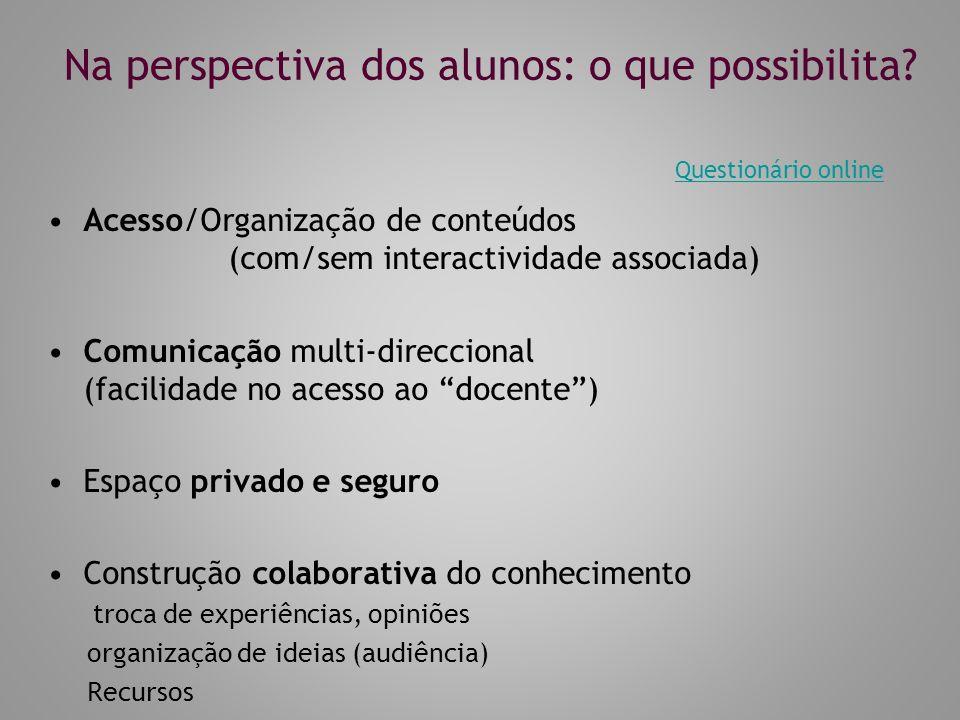 Na perspectiva dos alunos: o que possibilita? Acesso/Organização de conteúdos (com/sem interactividade associada) Comunicação multi-direccional (facil