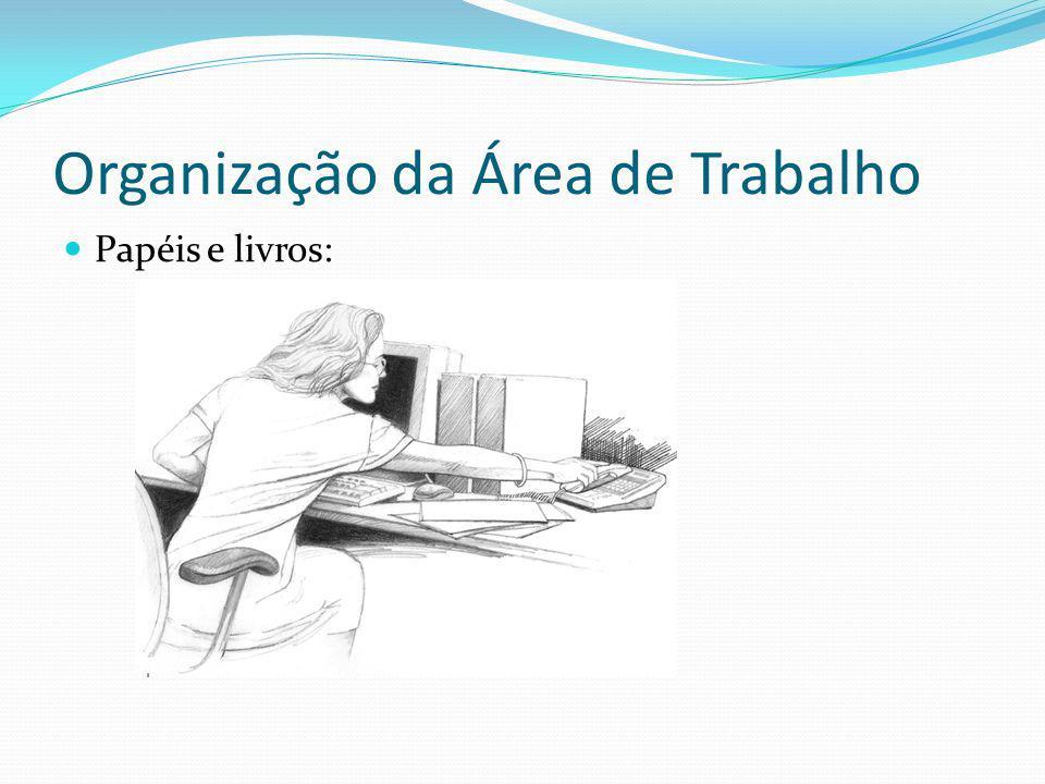 Organização da Área de Trabalho Papéis e livros: Incorreto:
