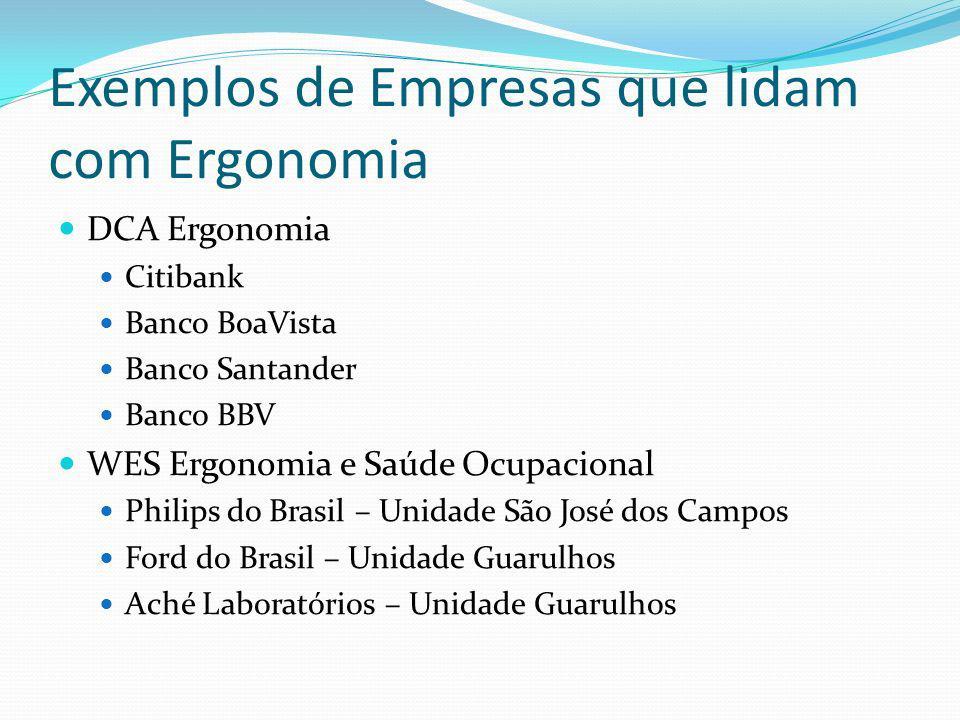 Exemplos de Empresas que lidam com Ergonomia DCA Ergonomia Citibank Banco BoaVista Banco Santander Banco BBV WES Ergonomia e Saúde Ocupacional Philips