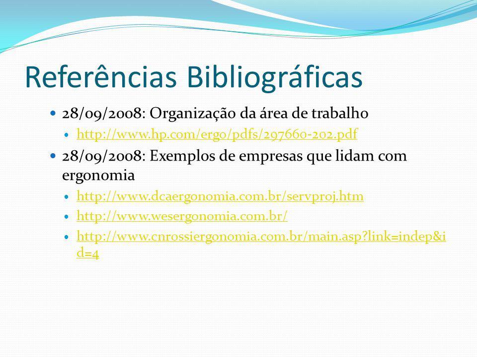 Referências Bibliográficas 28/09/2008: Organização da área de trabalho http://www.hp.com/ergo/pdfs/297660-202.pdf 28/09/2008: Exemplos de empresas que lidam com ergonomia http://www.dcaergonomia.com.br/servproj.htm http://www.wesergonomia.com.br/ http://www.cnrossiergonomia.com.br/main.asp?link=indep&i d=4 http://www.cnrossiergonomia.com.br/main.asp?link=indep&i d=4