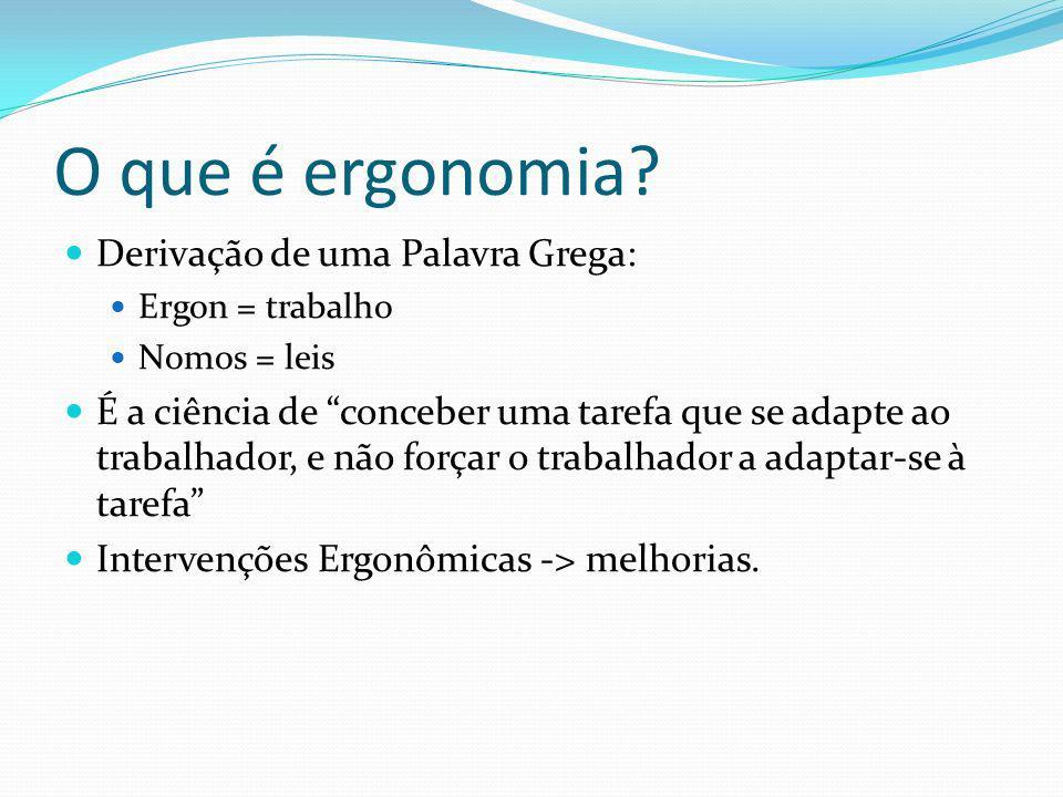 O que é ergonomia? Derivação de uma Palavra Grega: Ergon = trabalho Nomos = leis É a ciência de conceber uma tarefa que se adapte ao trabalhador, e nã