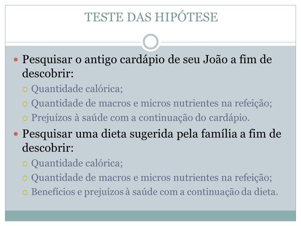 TESTE DAS HIPÓTESE Pesquisar o antigo cardápio de seu João a fim de descobrir: Quantidade calórica; Quantidade de macros e micros nutrientes na refeiç