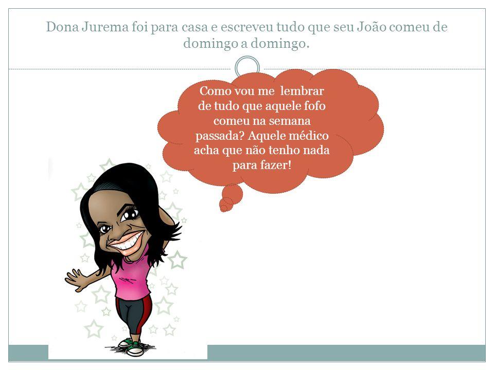 Dona Jurema foi para casa e escreveu tudo que seu João comeu de domingo a domingo. Como vou me lembrar de tudo que aquele fofo comeu na semana passada