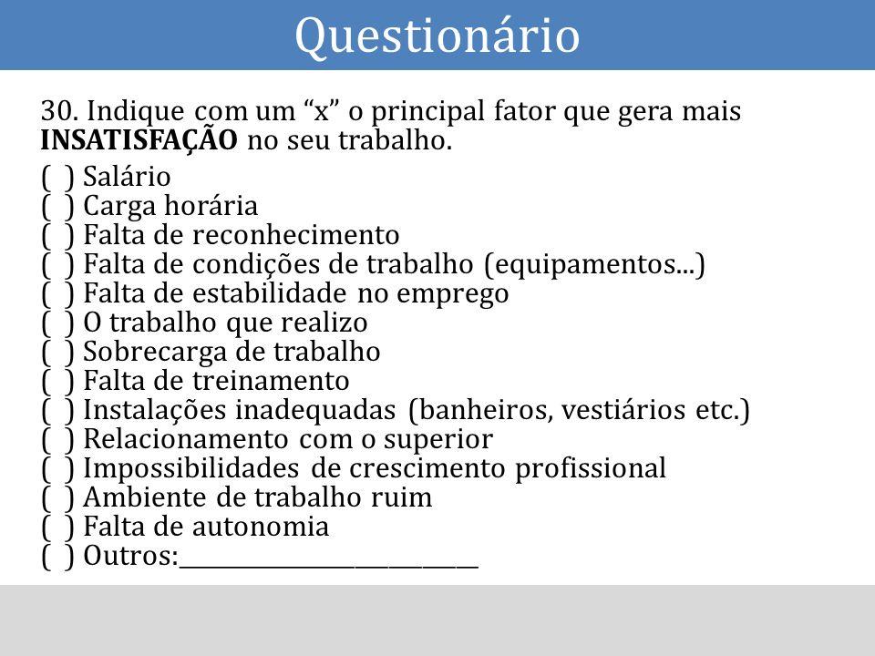 30. Indique com um x o principal fator que gera mais INSATISFAÇÃO no seu trabalho. ( ) Salário ( ) Carga horária ( ) Falta de reconhecimento ( ) Falta