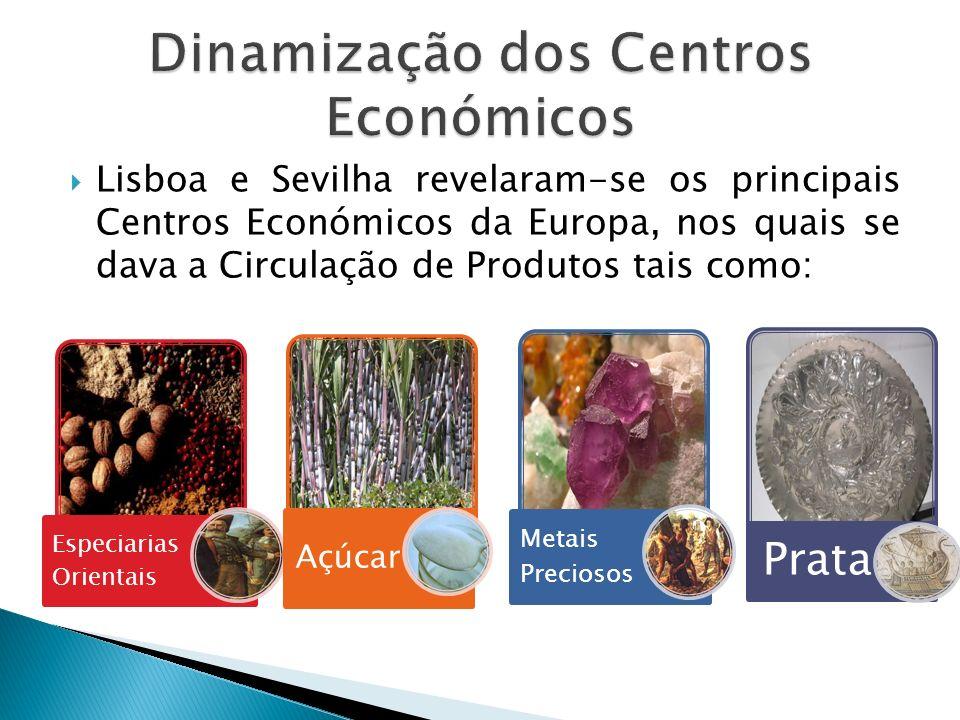Lisboa e Sevilha revelaram-se os principais Centros Económicos da Europa, nos quais se dava a Circulação de Produtos tais como: Especiarias Orientais Açúcar Metais Preciosos Prata