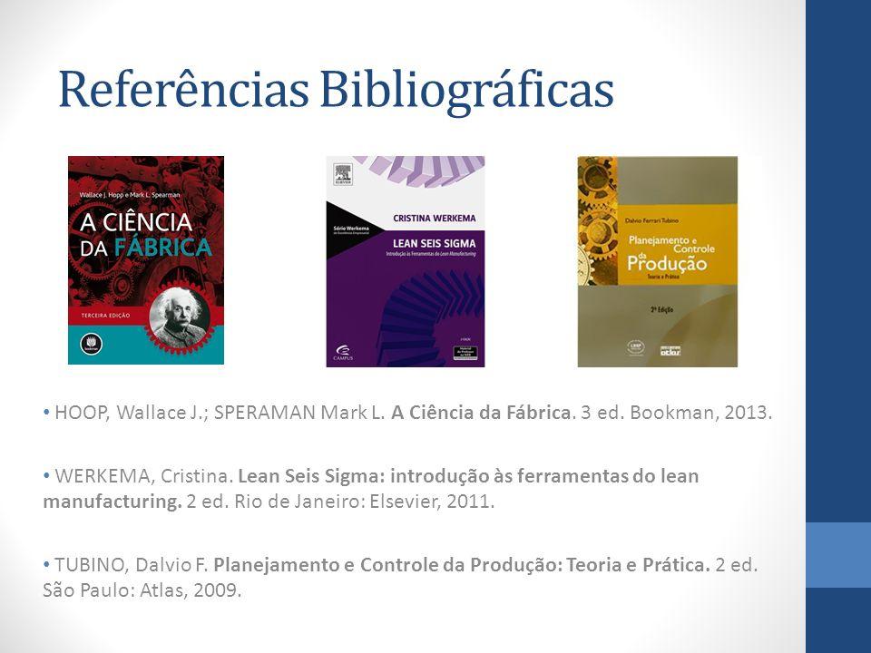 Referências Bibliográficas HOOP, Wallace J.; SPERAMAN Mark L. A Ciência da Fábrica. 3 ed. Bookman, 2013. WERKEMA, Cristina. Lean Seis Sigma: introduçã