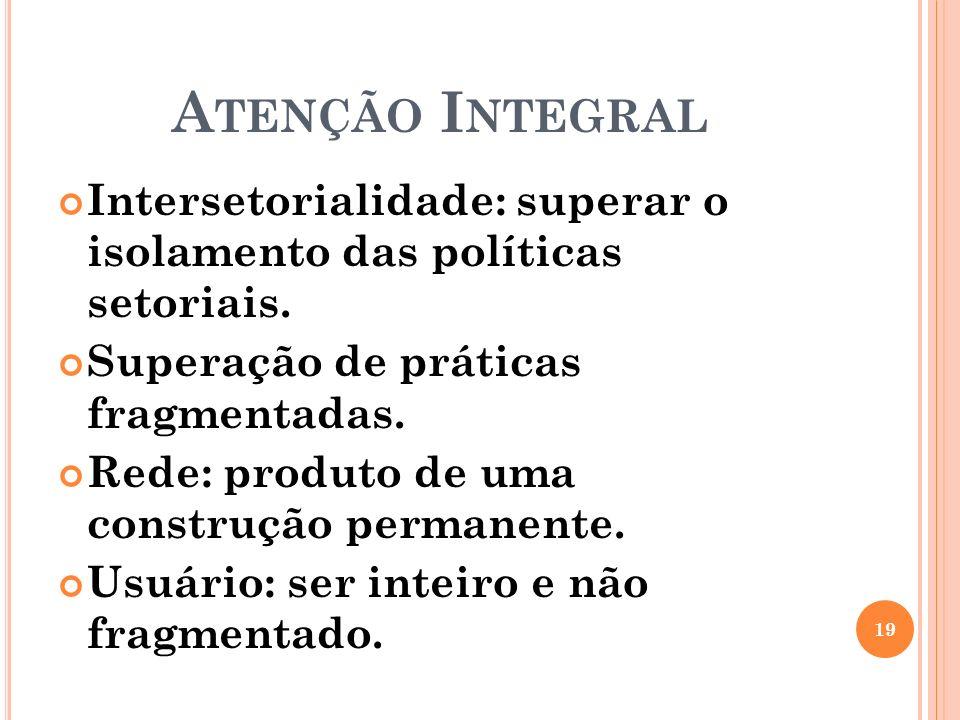A TENÇÃO I NTEGRAL Intersetorialidade: superar o isolamento das políticas setoriais. Superação de práticas fragmentadas. Rede: produto de uma construç