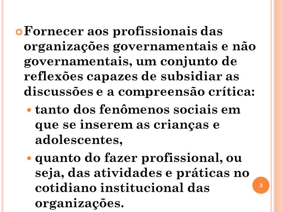 Fornecer aos profissionais das organizações governamentais e não governamentais, um conjunto de reflexões capazes de subsidiar as discussões e a compr