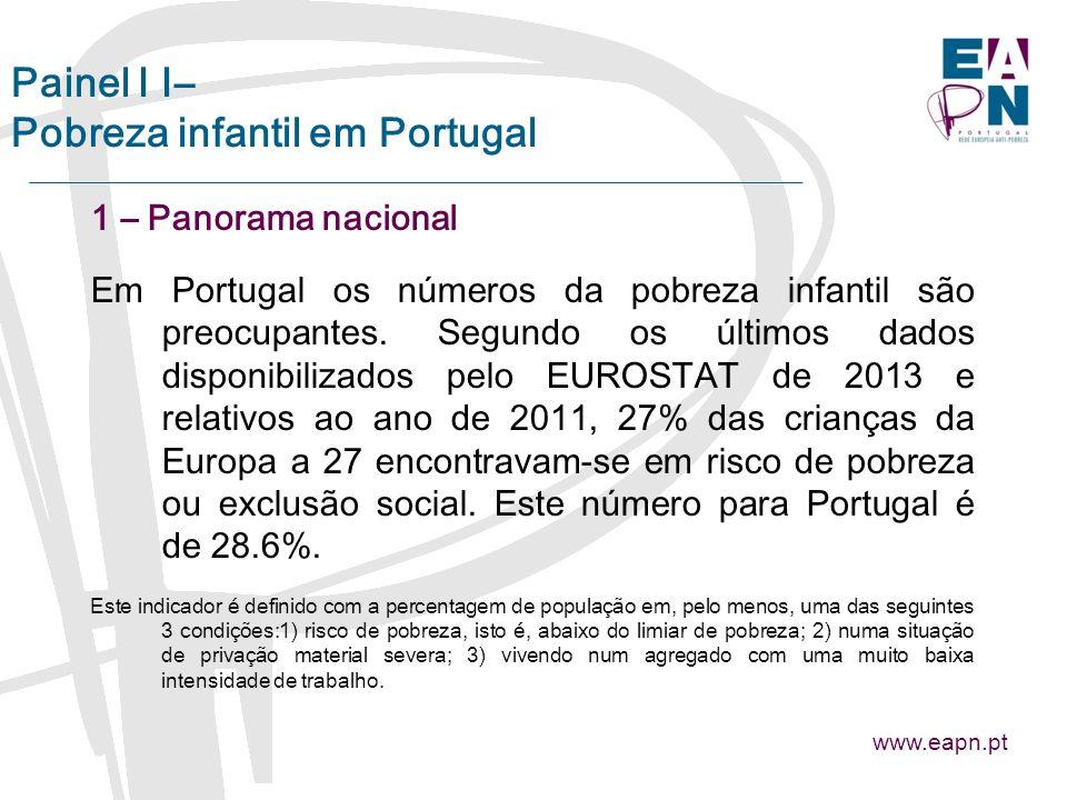 Painel I I– Pobreza infantil em Portugal 1 – Panorama nacional Em Portugal os números da pobreza infantil são preocupantes.