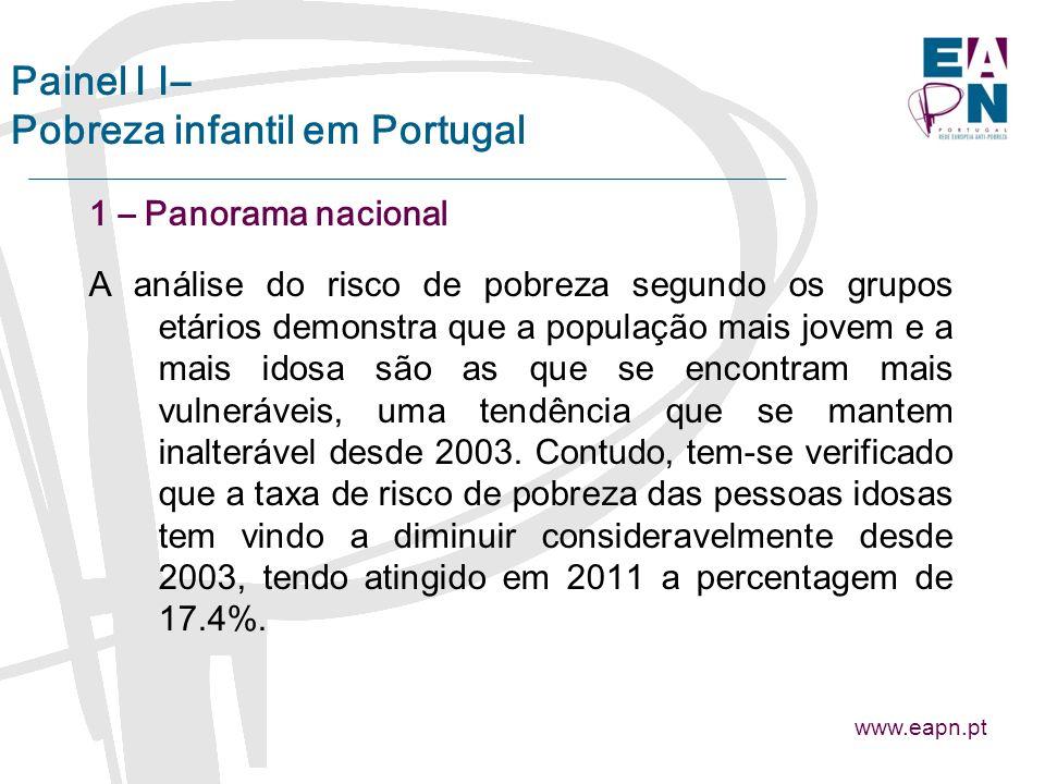 Painel I I– Pobreza infantil em Portugal 1 – Panorama nacional A análise do risco de pobreza segundo os grupos etários demonstra que a população mais jovem e a mais idosa são as que se encontram mais vulneráveis, uma tendência que se mantem inalterável desde 2003.
