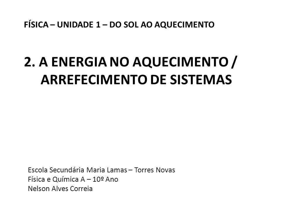 Escola Secundária Maria Lamas – Torres Novas Física e Química A – 10º Ano Nelson Alves Correia FÍSICA – UNIDADE 1 – DO SOL AO AQUECIMENTO 2. A ENERGIA