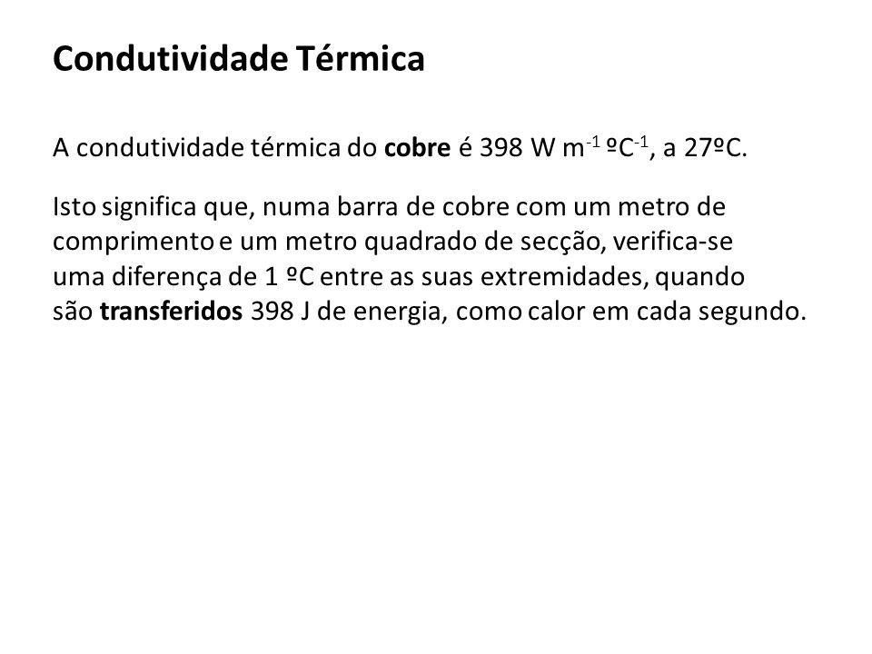A condutividade térmica do cobre é 398 W m -1 ºC -1, a 27ºC. Isto significa que, numa barra de cobre com um metro de comprimento e um metro quadrado d