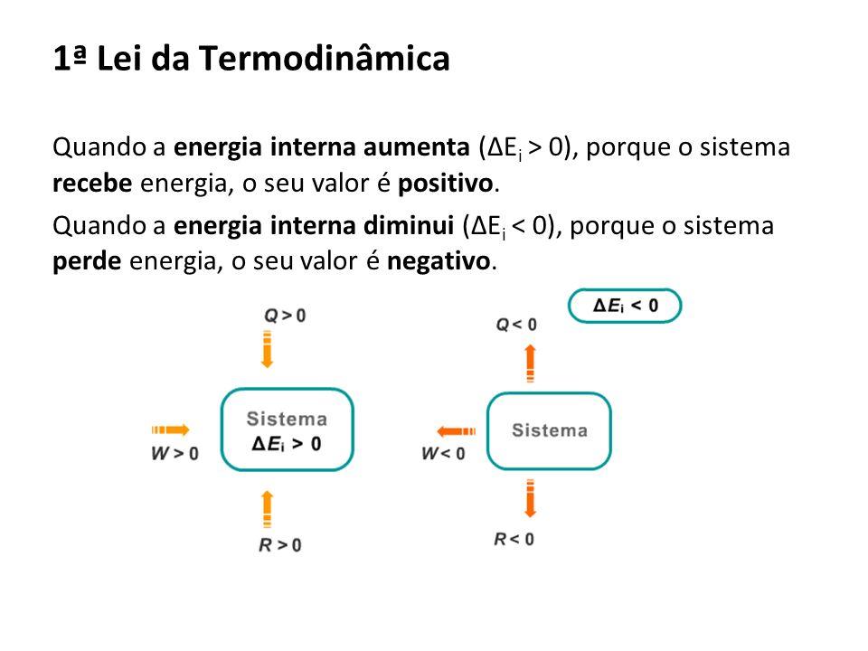 Quando a energia interna aumenta (E i > 0), porque o sistema recebe energia, o seu valor é positivo. Quando a energia interna diminui (E i < 0), porqu