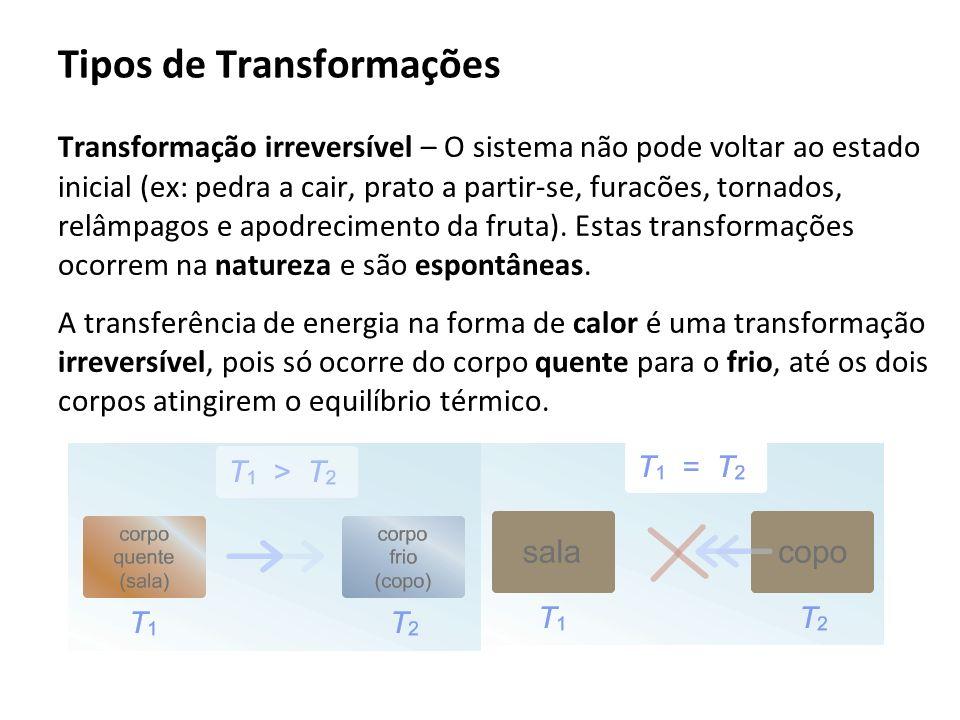 Tipos de Transformações Transformação irreversível – O sistema não pode voltar ao estado inicial (ex: pedra a cair, prato a partir-se, furacões, torna