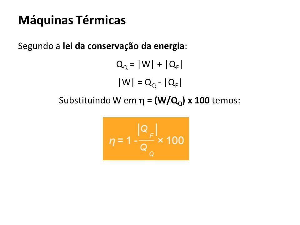 Segundo a lei da conservação da energia: Q Q = |W| + |Q F | |W| = Q Q - |Q F | Substituindo W em = (W/Q Q ) x 100 temos: Máquinas Térmicas