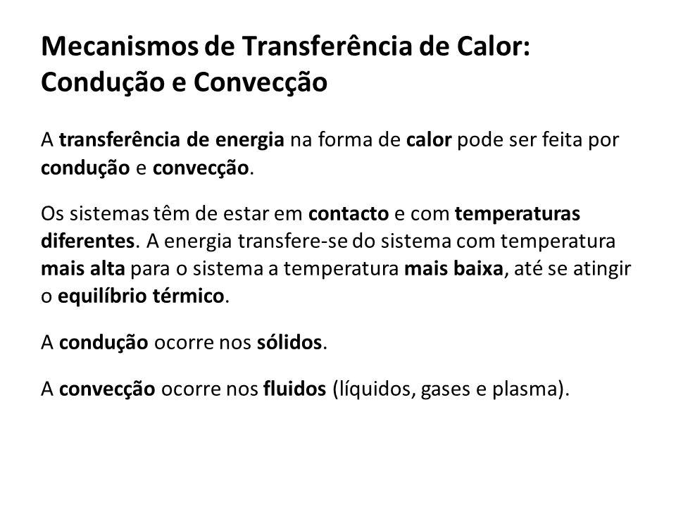 Mecanismos de Transferência de Calor: Condução e Convecção A transferência de energia na forma de calor pode ser feita por condução e convecção. Os si