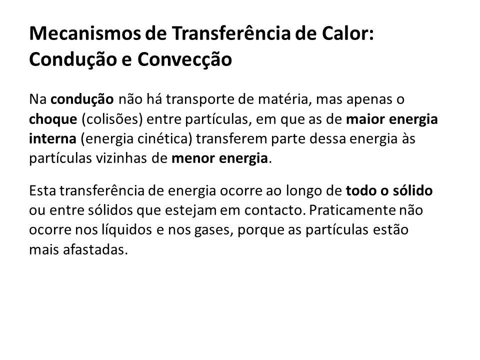 Na condução não há transporte de matéria, mas apenas o choque (colisões) entre partículas, em que as de maior energia interna (energia cinética) trans