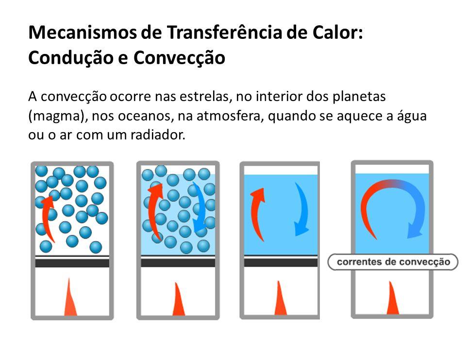 A convecção ocorre nas estrelas, no interior dos planetas (magma), nos oceanos, na atmosfera, quando se aquece a água ou o ar com um radiador. Mecanis