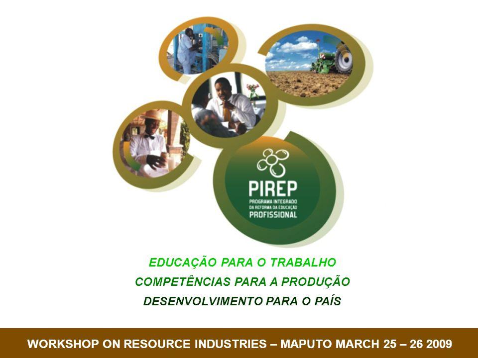 República de MoçambiqueCOREP EDUCAÇÃO PARA O TRABALHO COMPETÊNCIAS PARA A PRODUÇÃO DESENVOLVIMENTO PARA O PAÍS EDUCAÇÃO PARA O TRABALHO COMPETÊNCIAS PARA A PRODUÇÃO DESENVOLVIMENTO PARA O PAÍS WORKSHOP ON RESOURCE INDUSTRIES – MAPUTO MARCH 25 – 26 2009