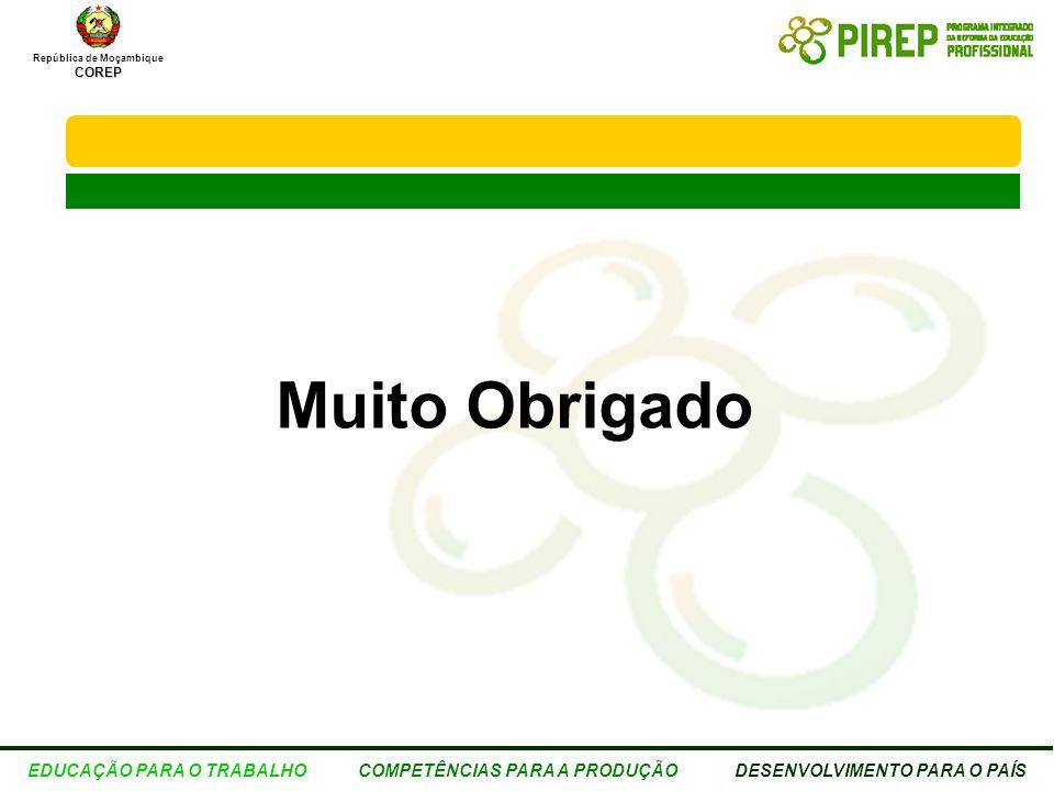 República de MoçambiqueCOREP EDUCAÇÃO PARA O TRABALHO COMPETÊNCIAS PARA A PRODUÇÃO DESENVOLVIMENTO PARA O PAÍS Muito Obrigado