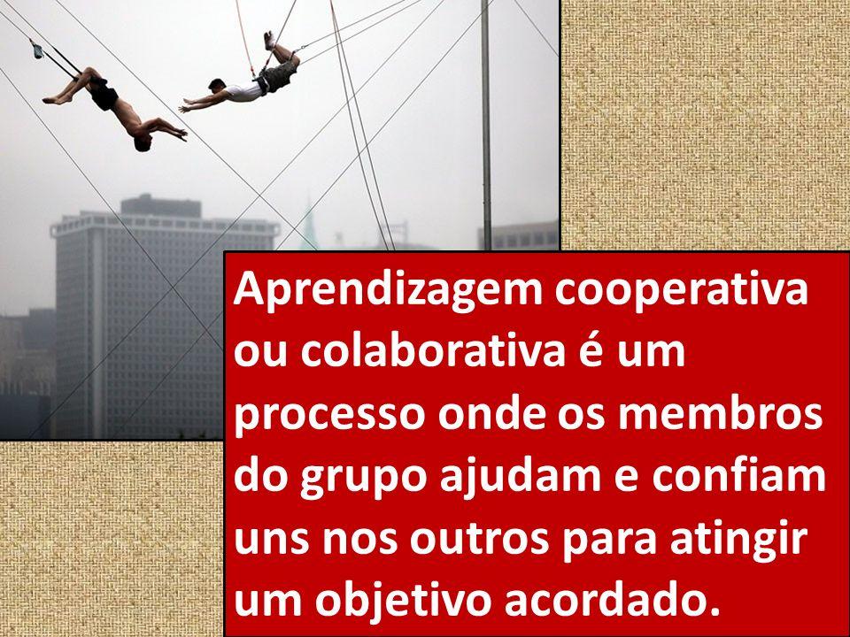 Aprendizagem cooperativa ou colaborativa é um processo onde os membros do grupo ajudam e confiam uns nos outros para atingir um objetivo acordado.