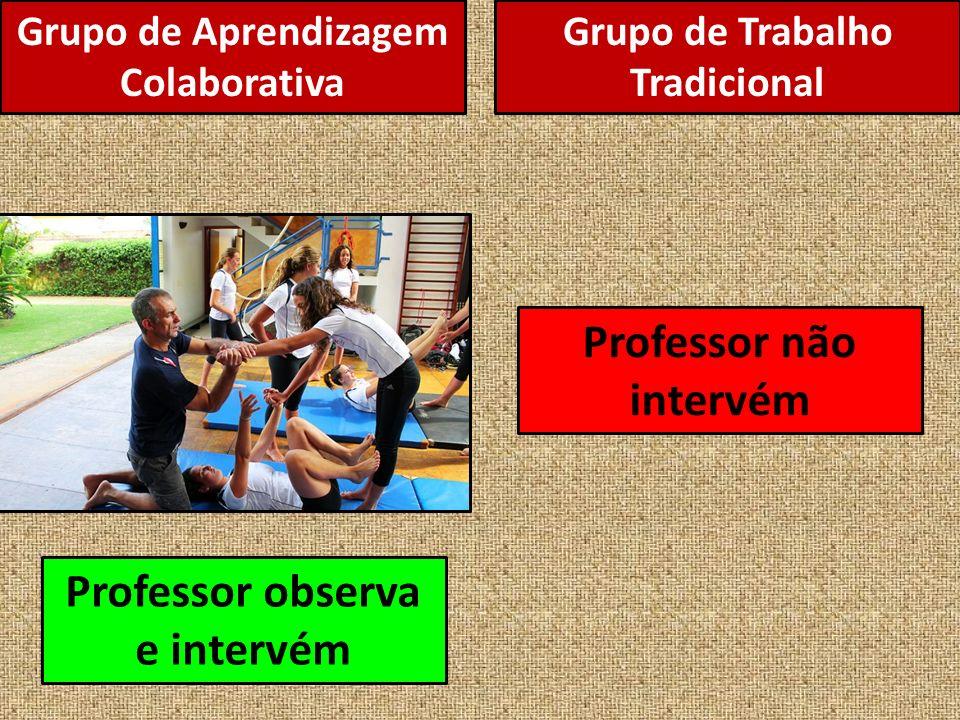Grupo de Aprendizagem Colaborativa Professor observa e intervém Professor não intervém Grupo de Trabalho Tradicional