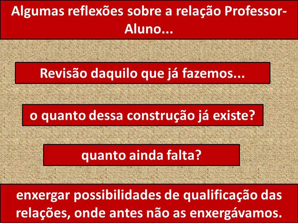 Algumas reflexões sobre a relação Professor- Aluno...