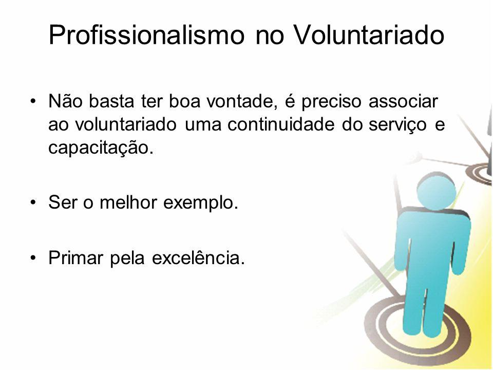 Profissionalismo no Voluntariado Não basta ter boa vontade, é preciso associar ao voluntariado uma continuidade do serviço e capacitação. Ser o melhor