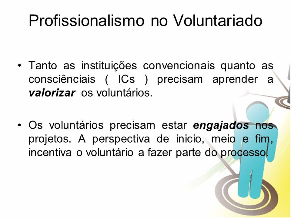 Profissionalismo no Voluntariado Tanto as instituições convencionais quanto as consciênciais ( ICs ) precisam aprender a valorizar os voluntários. Os