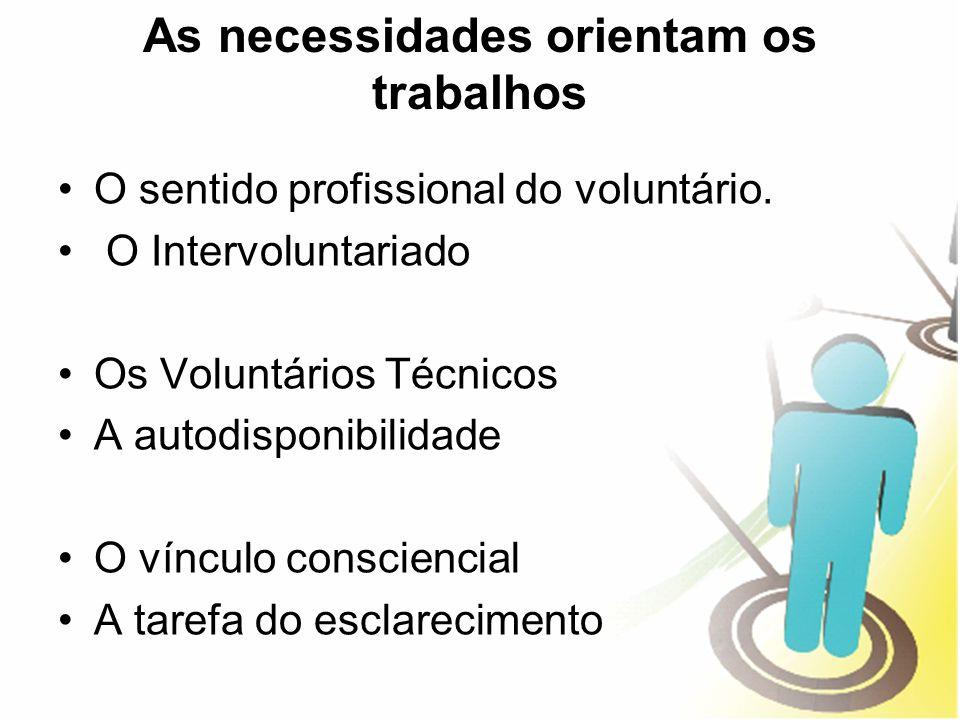 As necessidades orientam os trabalhos O sentido profissional do voluntário. O Intervoluntariado Os Voluntários Técnicos A autodisponibilidade O víncul