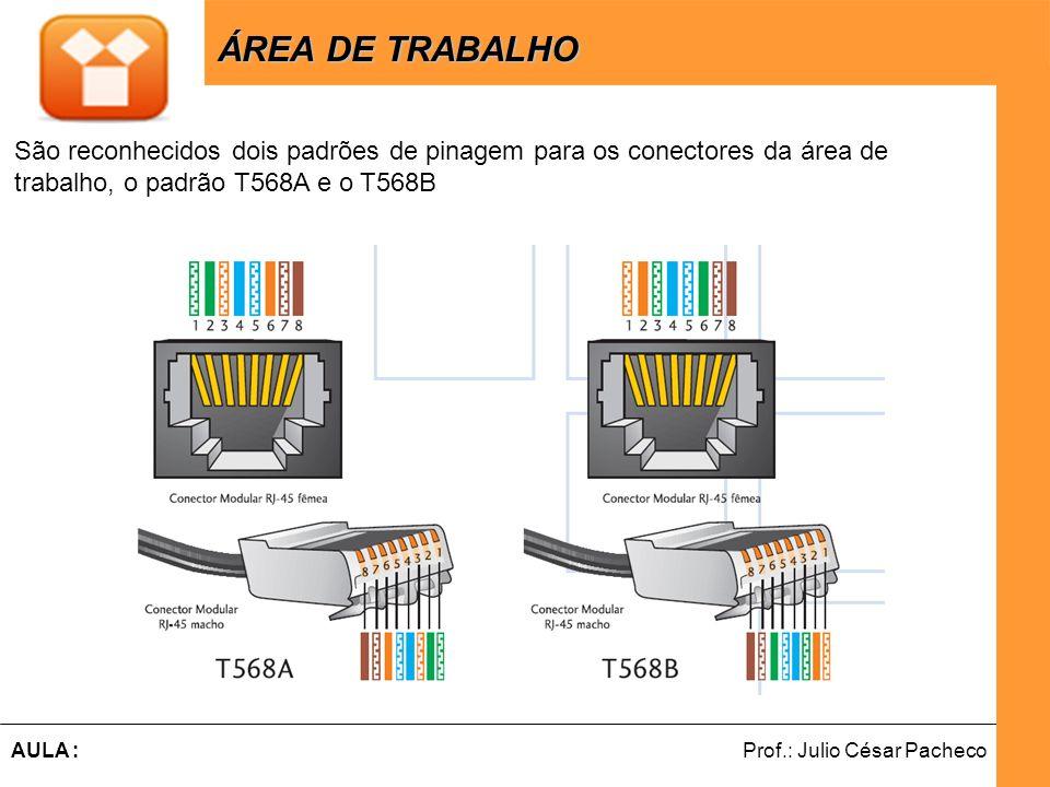 Ferramentas de Desenvolvimento Web Prof.: Julio César PachecoAULA : ÁREA DE TRABALHO ÁREA DE TRABALHO São reconhecidos dois padrões de pinagem para os conectores da área de trabalho, o padrão T568A e o T568B