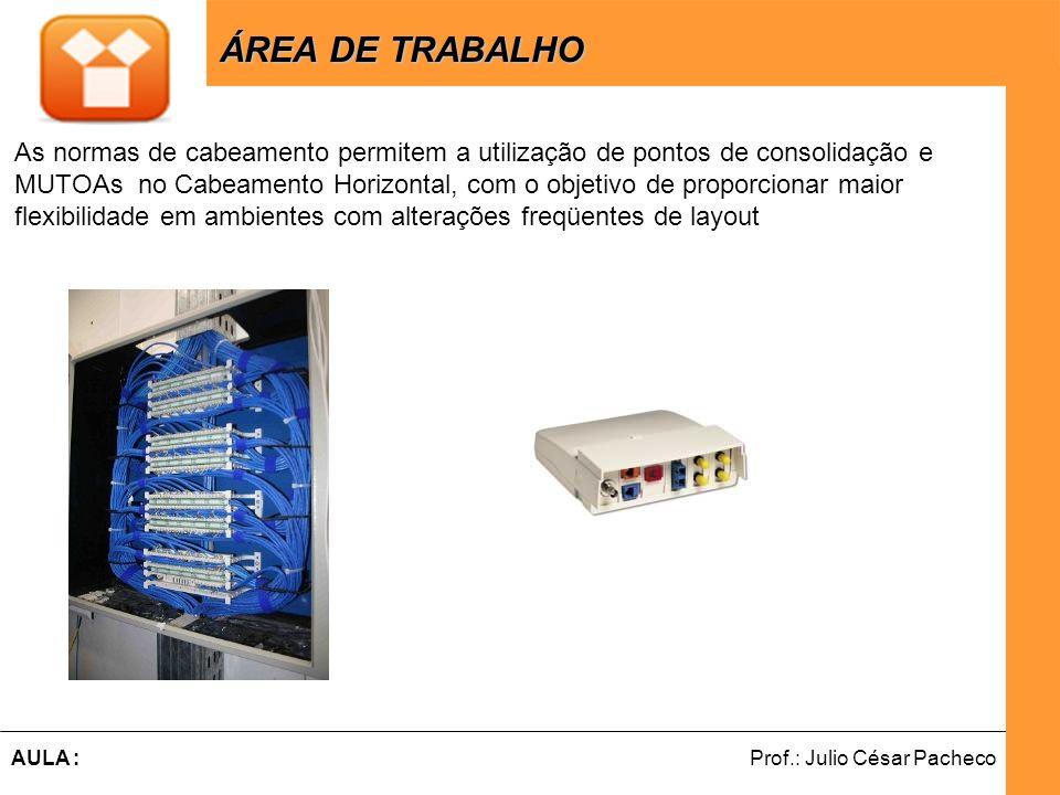 Ferramentas de Desenvolvimento Web Prof.: Julio César PachecoAULA : ÁREA DE TRABALHO ÁREA DE TRABALHO As normas de cabeamento permitem a utilização de