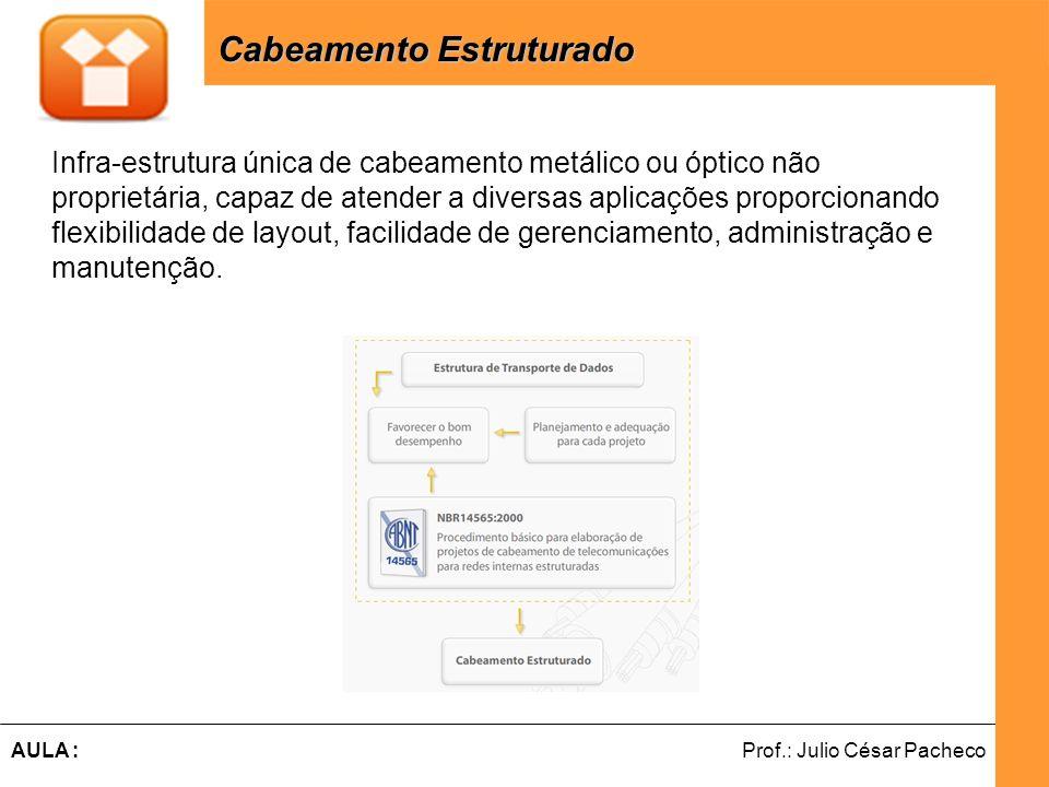 Ferramentas de Desenvolvimento Web Prof.: Julio César PachecoAULA : Cabeamento Estruturado - Principais Normas Cabeamento Estruturado - Principais Normas Com o objetivo de padronizar o conceito de Cabeamento Estruturado, foram desenvolvidas normas nacionais e internacionais que tratam do assunto, tais como: NBR 14565, TIA/EIA-568-B, TIA/EIA-569-A, TIA/EIA-606-A, TIA/EIA-862