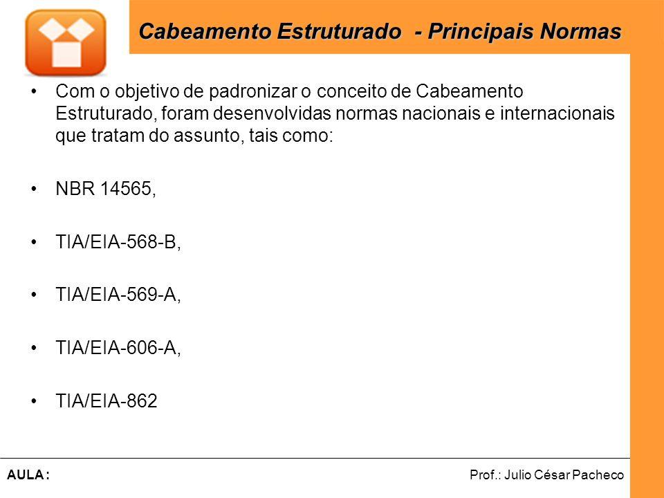 Ferramentas de Desenvolvimento Web Prof.: Julio César PachecoAULA : ÁREA DE TRABALHO - MUTOA ÁREA DE TRABALHO - MUTOA Quando são utilizadas MUTOAs – Tomadas Multi-Usuários de Telecomunicações, as distâncias máximas do Cabeamento Horizontal passam a ser de acordo com a tabela abaixo: