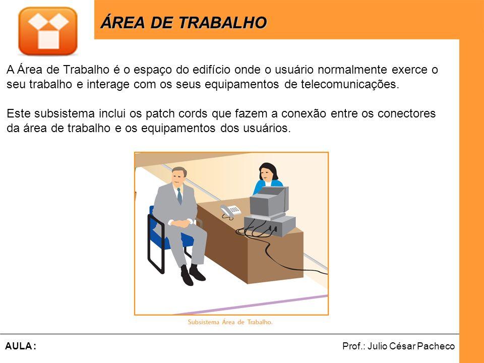 Ferramentas de Desenvolvimento Web Prof.: Julio César PachecoAULA : ÁREA DE TRABALHO ÁREA DE TRABALHO A Área de Trabalho é o espaço do edifício onde o usuário normalmente exerce o seu trabalho e interage com os seus equipamentos de telecomunicações.