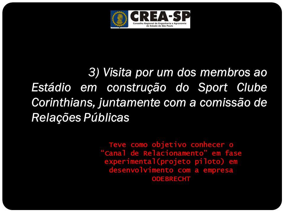 3) Visita por um dos membros ao Estádio em construção do Sport Clube Corinthians, juntamente com a comissão de Relações Públicas Teve como objetivo co