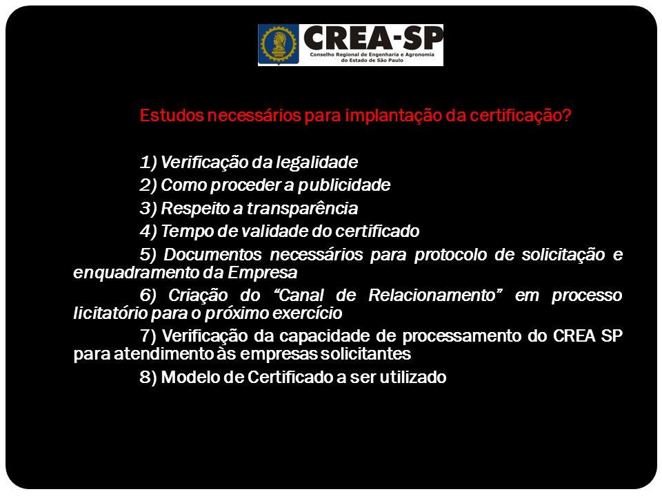 Estudos necessários para implantação da certificação? 1) Verificação da legalidade 2) Como proceder a publicidade 3) Respeito a transparência 4) Tempo