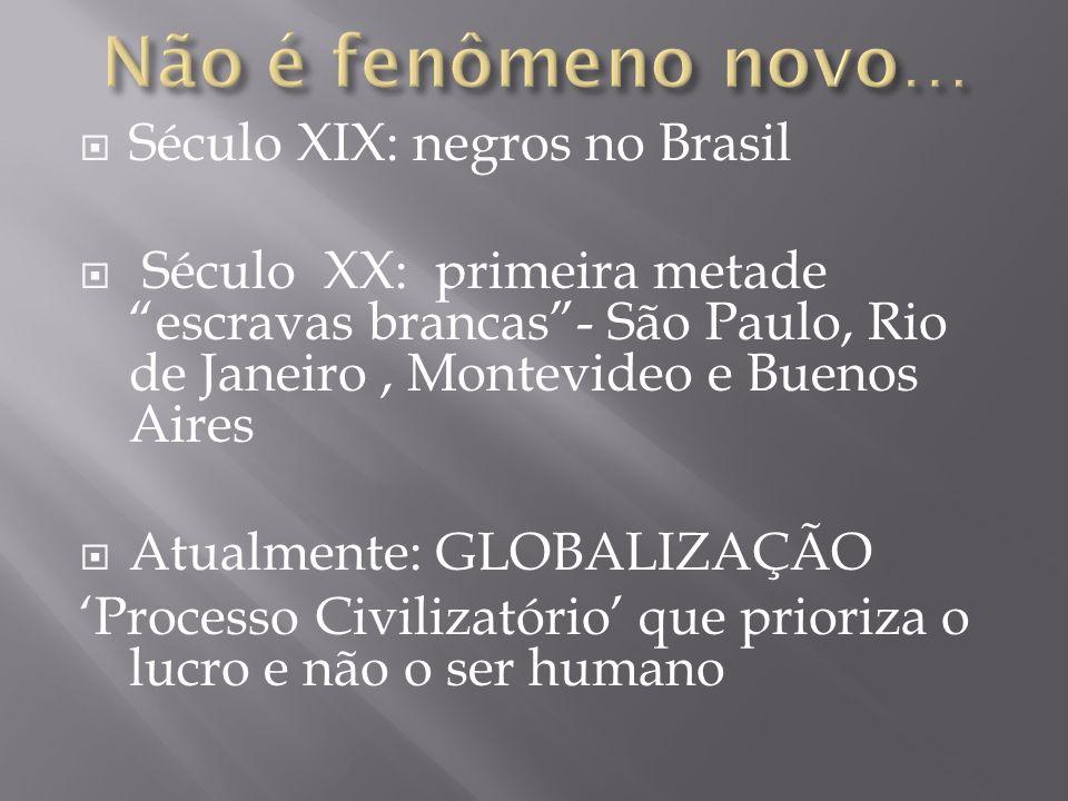 Século XIX: negros no Brasil Século XX: primeira metade escravas brancas- São Paulo, Rio de Janeiro, Montevideo e Buenos Aires Atualmente: GLOBALIZAÇÃ