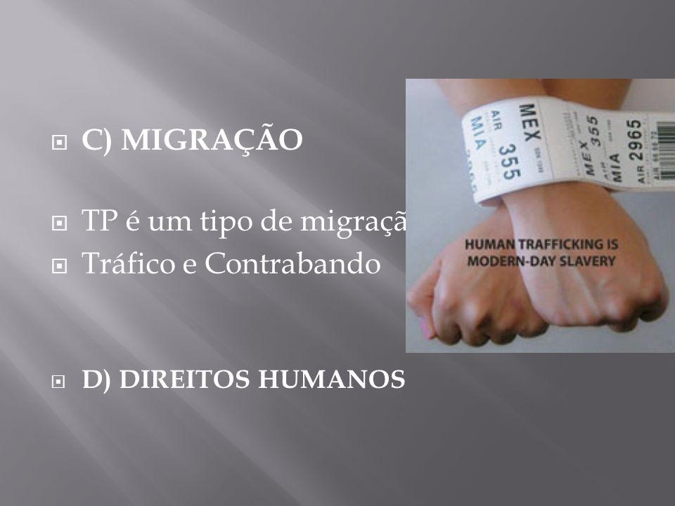 C) MIGRAÇÃO TP é um tipo de migração Tráfico e Contrabando D) DIREITOS HUMANOS