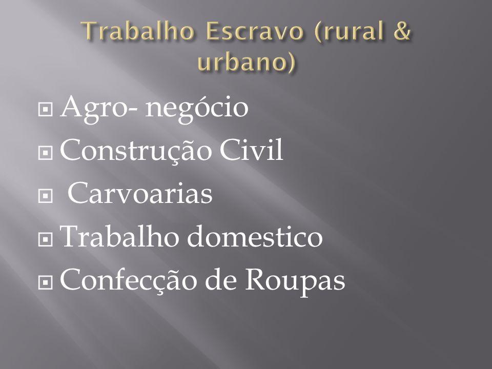 Agro- negócio Construção Civil Carvoarias Trabalho domestico Confecção de Roupas