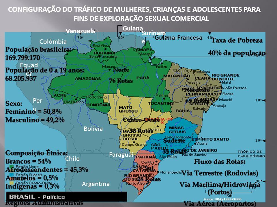 Guiana Surinam e Guiana-Francesa Venezuela Norte 76 Rotas Centro-Oeste 33 Rotas Nordeste 69 Rotas Sudeste 35 Rotas Sul 28 Rotas Colômbia Equad or Per