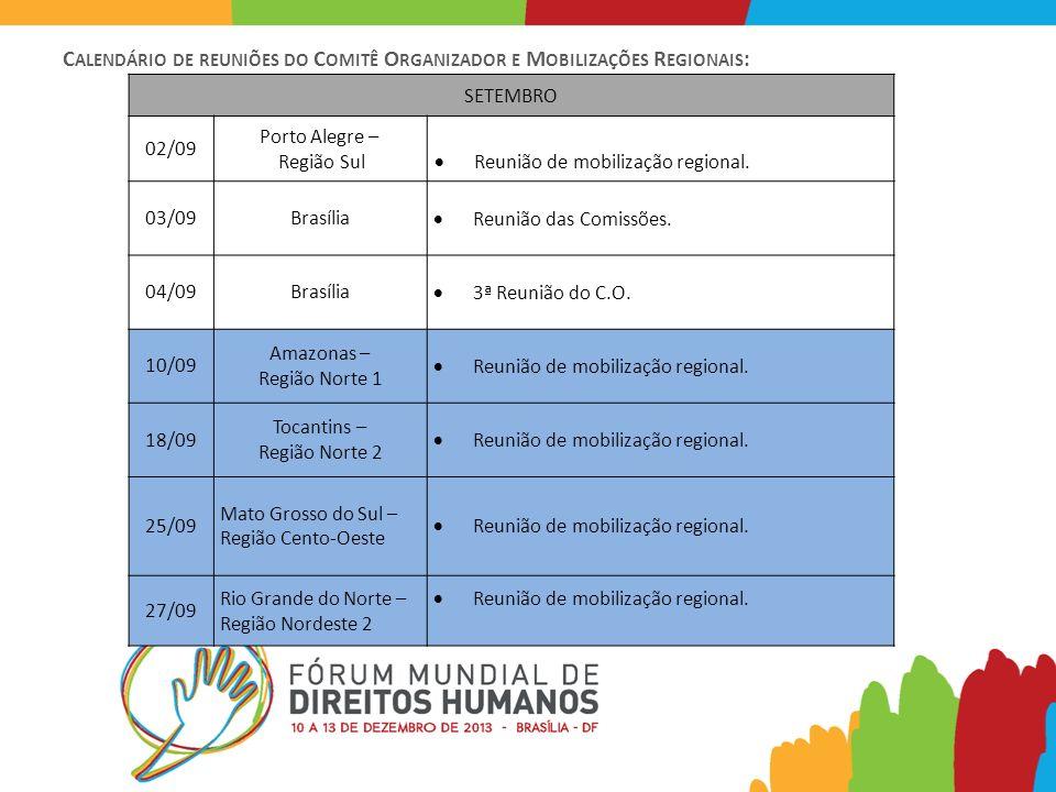 C ALENDÁRIO DE REUNIÕES DO C OMITÊ O RGANIZADOR E M OBILIZAÇÕES R EGIONAIS : SETEMBRO 02/09 Porto Alegre – Região Sul Reunião de mobilização regional.