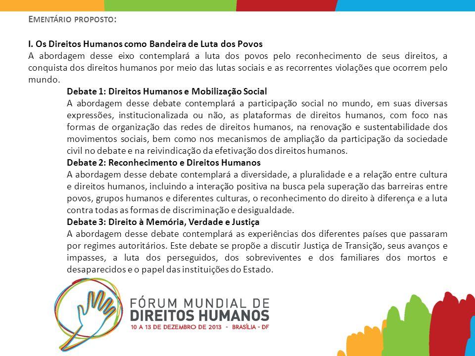 E MENTÁRIO PROPOSTO : I. Os Direitos Humanos como Bandeira de Luta dos Povos A abordagem desse eixo contemplará a luta dos povos pelo reconhecimento d