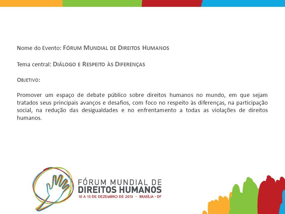 Nome do Evento: F ÓRUM M UNDIAL DE D IREITOS H UMANOS Tema central: D IÁLOGO E R ESPEITO ÀS D IFERENÇAS O BJETIVO : Promover um espaço de debate públi