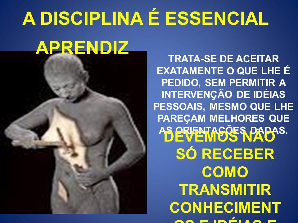 A DISCIPLINA É ESSENCIAL APRENDIZ TRATA-SE DE ACEITAR EXATAMENTE O QUE LHE É PEDIDO, SEM PERMITIR A INTERVENÇÃO DE IDÉIAS PESSOAIS, MESMO QUE LHE PARE