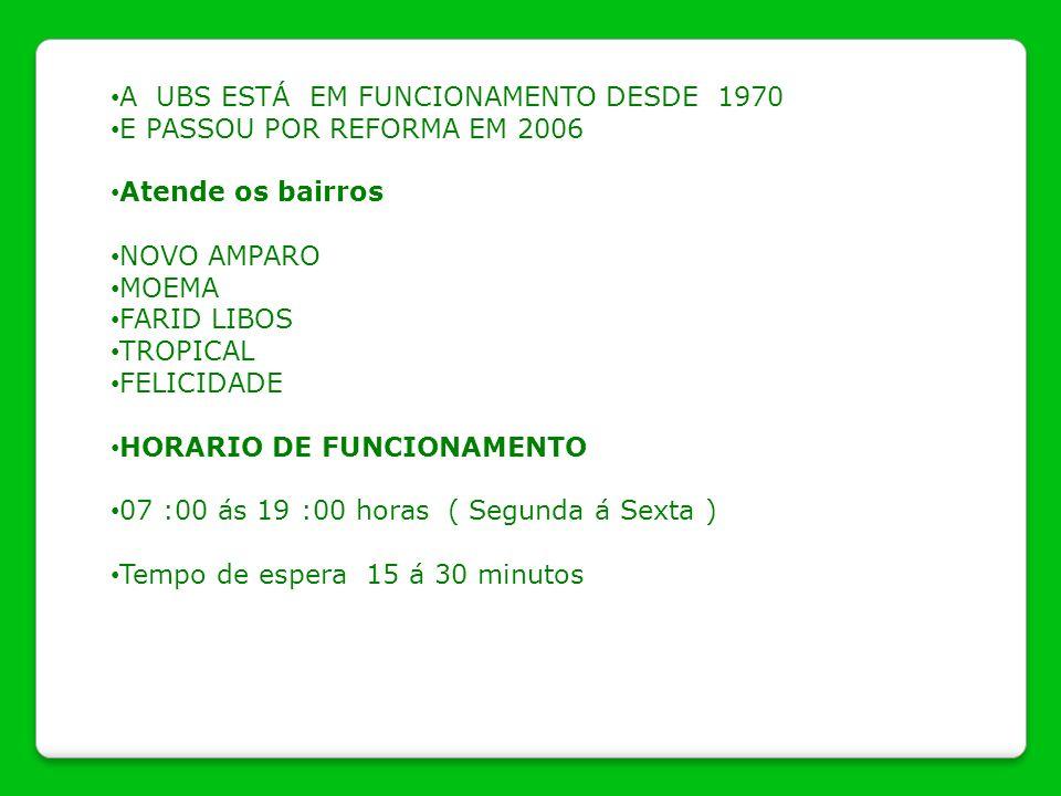 A UBS ESTÁ EM FUNCIONAMENTO DESDE 1970 E PASSOU POR REFORMA EM 2006 Atende os bairros NOVO AMPARO MOEMA FARID LIBOS TROPICAL FELICIDADE HORARIO DE FUN