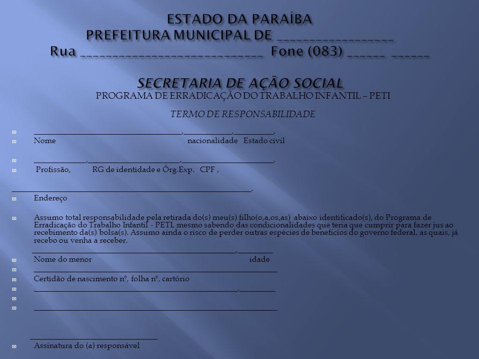 Na área rural, o valor a ser repassado pela SEAS é de R$ 20,00 por criança ou adolescente inserido no Programa.