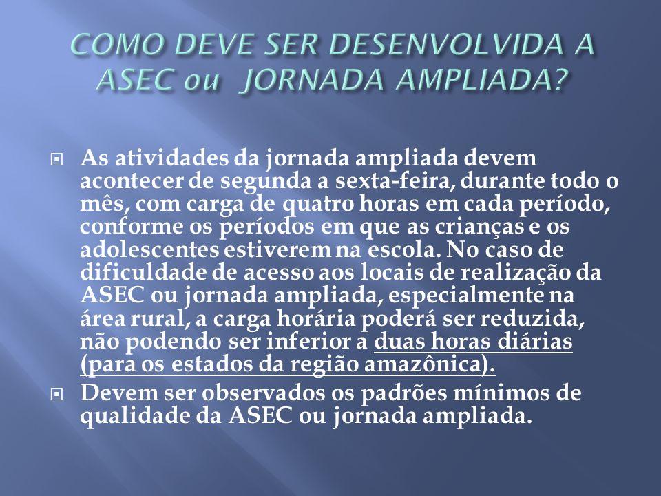 Os recursos da ASEC ou jornada ampliada são repassados na rubrica de custeio, o que significa que só podem ser utilizados para material de consumo.