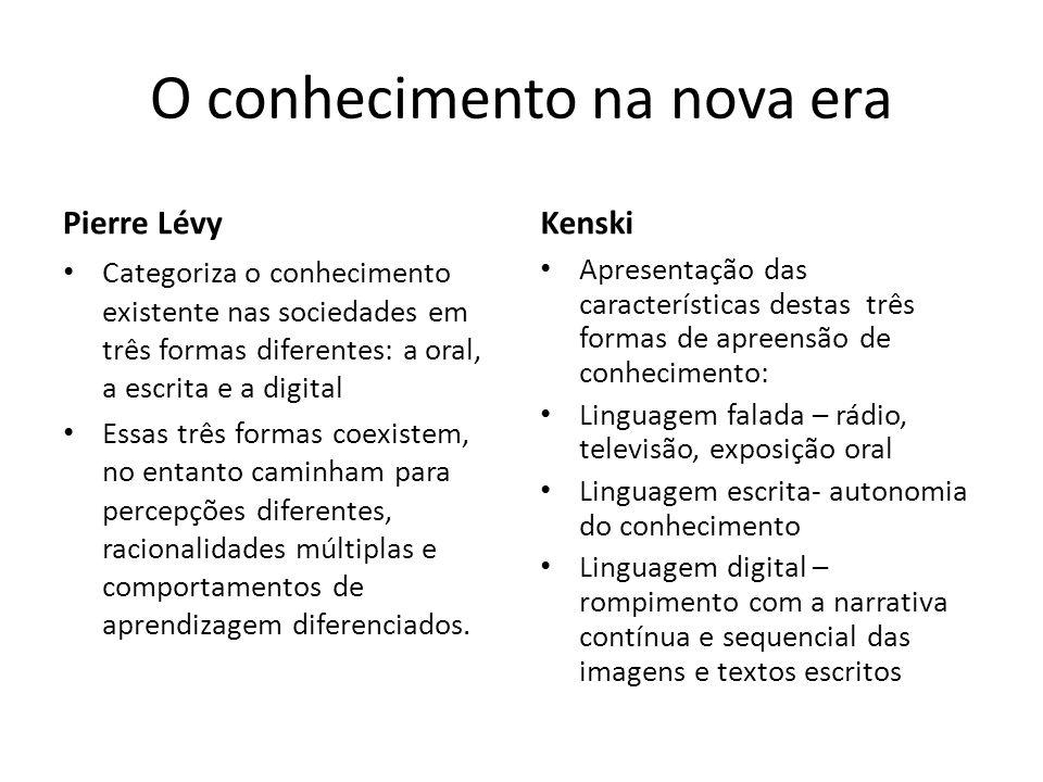 O conhecimento na nova era Pierre Lévy Categoriza o conhecimento existente nas sociedades em três formas diferentes: a oral, a escrita e a digital Ess