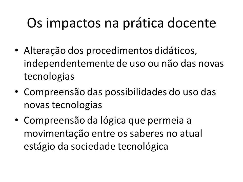 Os impactos na prática docente Alteração dos procedimentos didáticos, independentemente de uso ou não das novas tecnologias Compreensão das possibilid